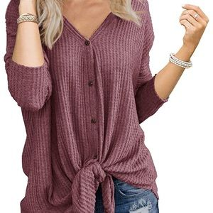 Sweaters - Dark Pink Waffle Knit Sweater